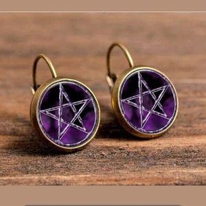 Purple Pentagram Glass Cabochon Bronze Earrings